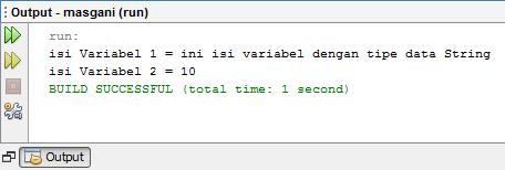 output pemanggilan variabel