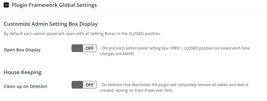 Plugin Framework Global Settings