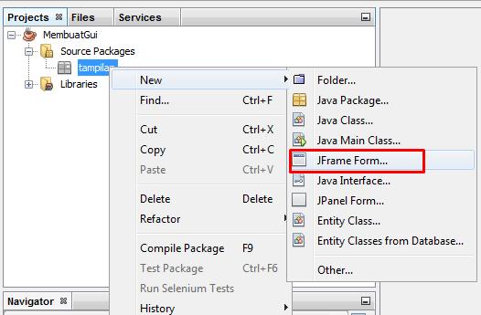 Membuat JFrame Form Baru