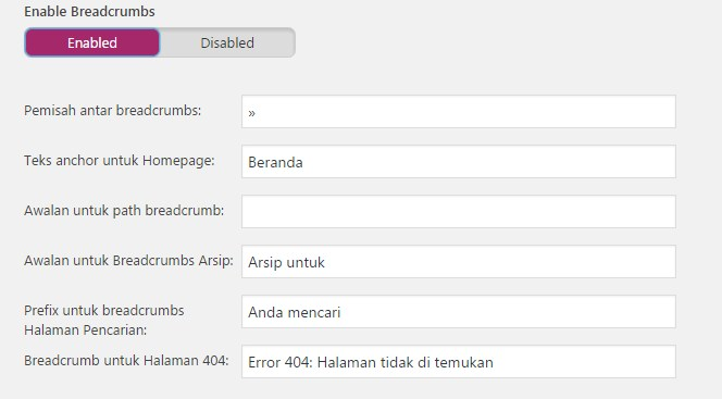 Yoast Breadcrumbs settings
