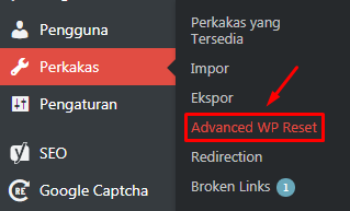 wp reset menu