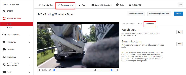 Cara Membuat Efek Buram di YouTube
