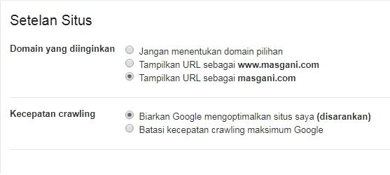 Setelan situs - search console