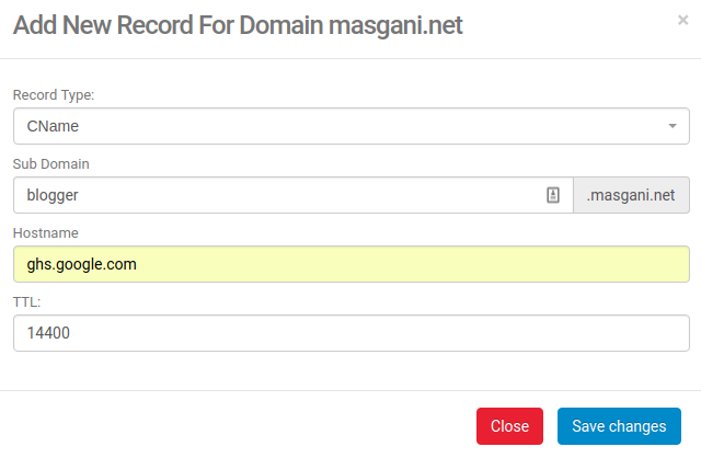 Custom Domain Blogspot di Niagahoster - dns record subdomain