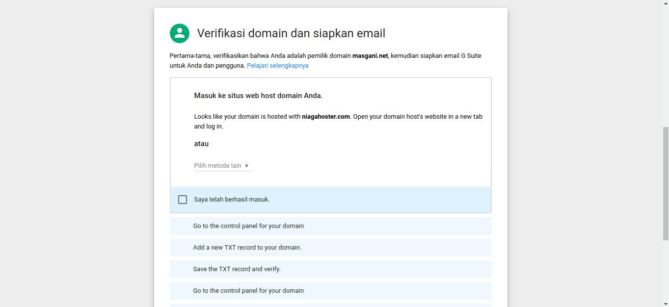 Mnyiapkan Dan Verifikasi Akun G Suite (Verifikasi domain dan siapkan email)