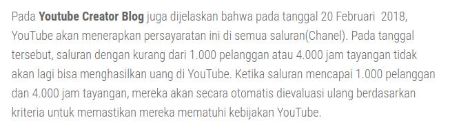 Perubahan persyaratan YouTube 2018