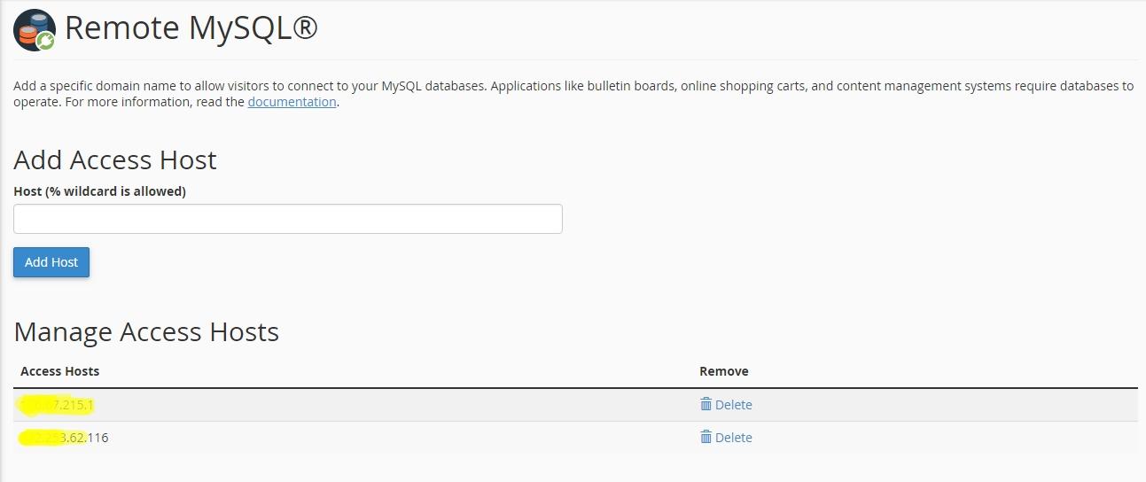 Add Access Host - Cara Menggunakan Remote MYSQL Di cPanel